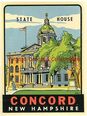 Vintage Souvenir Luggage Travel Decal Concord New Hampshire State House Original