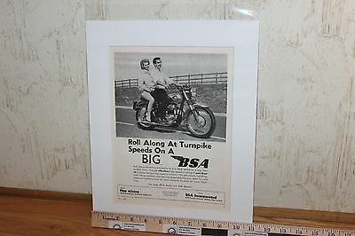 """1960 BSA """"Roll Along at Turnpike Speeds"""" 11 x 14 Matted Vintage Ad #6005amot09m"""