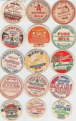 Lot Of 15 Different Milk Bottle Caps. All Named Dairies. #28