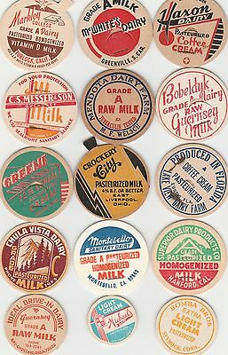 Lot Of 15 Different Milk Bottle Caps. All Named Dairies. #30