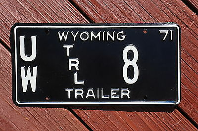 1971 University of Wyoming Trailer License Plate # 8