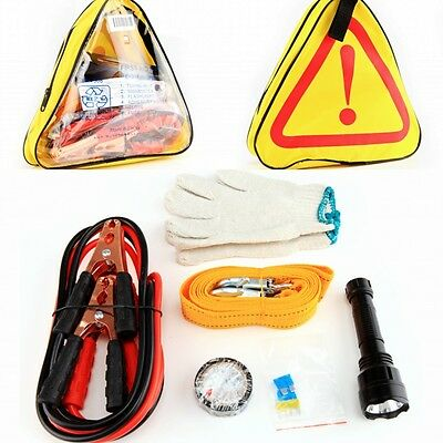 Roadside Car Emergency Bag Auto Tool Kit Tow Belt Alligator Clip Adhesive Tape