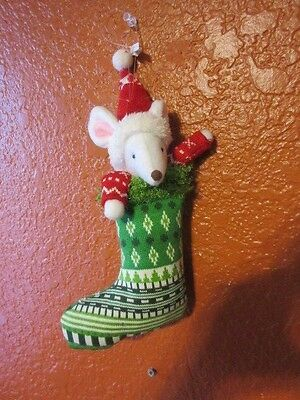 New Holiday material & Felt Christmas Rat * mouse hanging stocking ornament #1