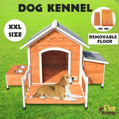 XXL Pet Dog Timber House Wooden Kennel Log Cabin Wood Porch Storage Box Bowls