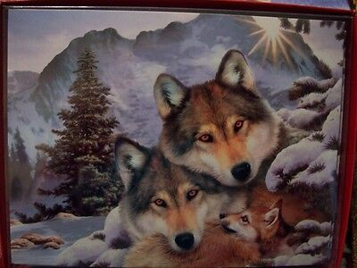 Leanin Tree Christmas Card Set Adorable Wolf Family In Winter 12 Pk New !