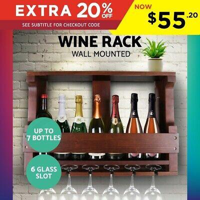 Wine Rack Wall Mounted Bottles Glass Wooden Holder Storage Display Organise
