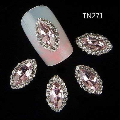 10 pcs Nail Art 3D Glitter Rhinestone Rose Bud Manicure DIY Decoration Jewelry