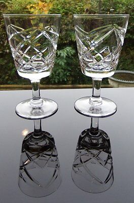 Pair of Vintage Brierley Cut Crystal Sherry Size Glasses