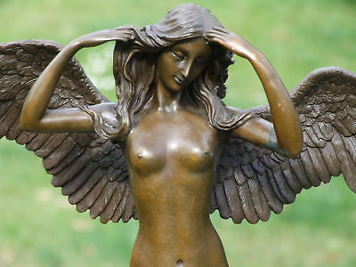 Large Signed Nude Lady Angel Bronze Statue Sculpture