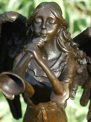 Signed A.moreau Lady Angel With Trumpet Bronze Statue Sculpture