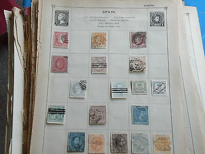 very old Spain stamps on  paper from old stamp album