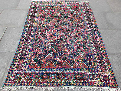 Antique Traditional Hand Made Rug Persian Blue Red Oriental Wool Rug 209x152cm