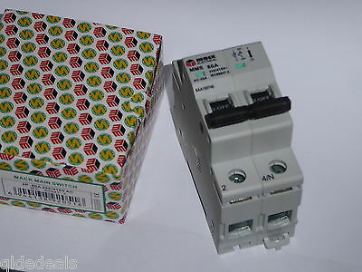 Main Switch 80A 240V Din 2 Pole Saa Approved 1007746 Switchboard Industrial New
