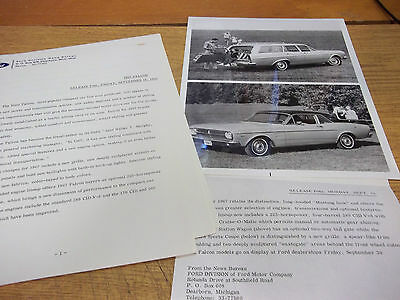 1967 Ford Falcon Press Release (9 pages) & Photos