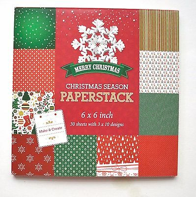 """6"""" x 6"""" Christmas paper pad 30 Sheets in 10 Designs NEW"""
