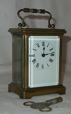 FRENCH Antique CARRIAGE Mantel CLOCK Brass & Glass FULLY WORKING + KEY Vintage