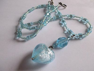 Vintage 1980S Turquoise Marano Glass Heart Pendant Necklace