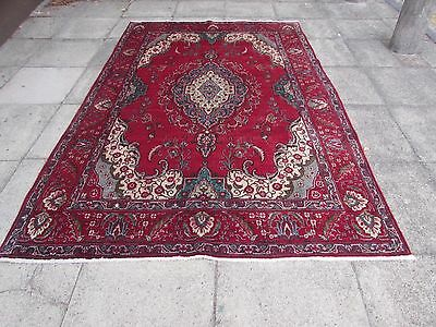 Old Traditional Hand Made Persian Rug Oriental Wool Red Large Carpet 286x190cm