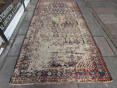 Old Shabby chic Traditional Hand Made Persian Oriental Rug Wool Blue 340x160cm