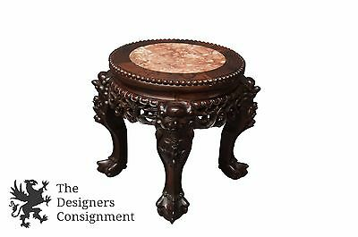 Antique Carved Mahogany Chinese Stool Marble Inlay Claw Feet Plant Stand Fu Dog