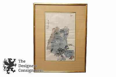 Chinese Watercolor Painting Mountain and Ocean Landscape with Boat Signed