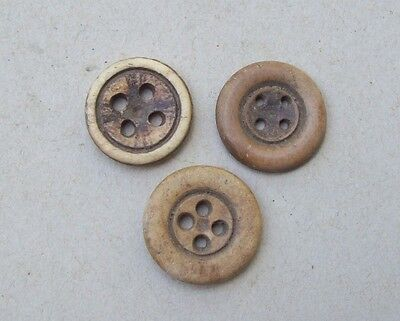 Dug 3 Nice Cowbone Carved Buttons 1700's-1800's