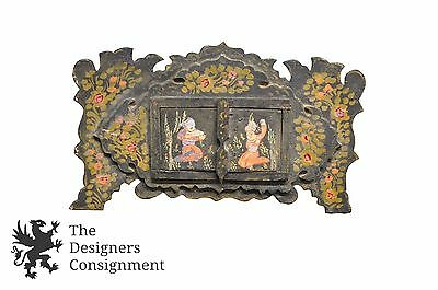 Antique Hand Painted India Made Vanity Decorative Art Mirror Figural Floral