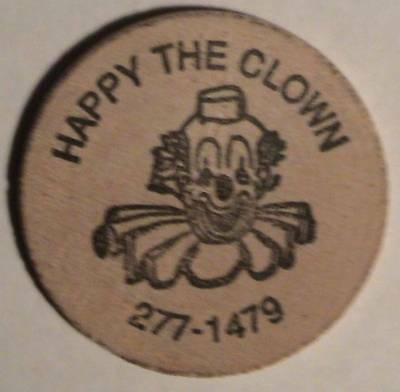 Happy The Clown / Classic Indian Head ~ Wooden Nickel / Token / Coin / Tuit Vtg