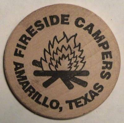 Fireside Campers: Amarillo, Texas: Classic Tuit Front: Wooden Nickel / Token Vtg