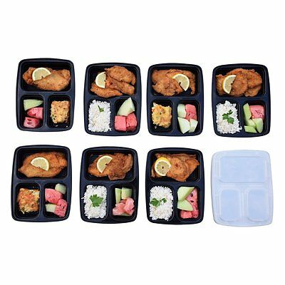 5/10 Pcs 3 Compartment Food Storage Containers With Lids Bento Lunchbox BXJ