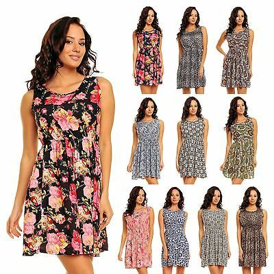 df116115a85a7 Ladies Floral Pattern Print Summer Beach Holiday Short Mini Day Dress UK 8  - 22