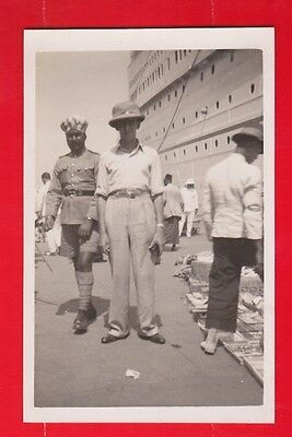 China, Singapore, Empress of Britain at quay side, Sikh policeman, postcard