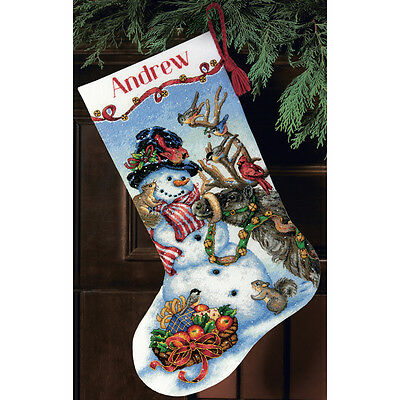 """Gold Collection Snowman Gathering Stocking Counted Cross Sti-13""""X20"""" 18 Count"""