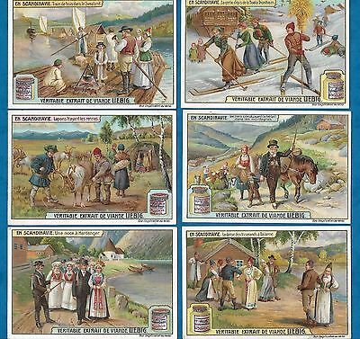Set Of 6 Pretty French Liebig Cards - In Scandinavia C1907 Skiing, Reindeer Etc