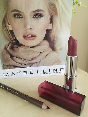Maybelline Color Sensational Lipstick 360 Plum Perfection & Liner  Pencil  New