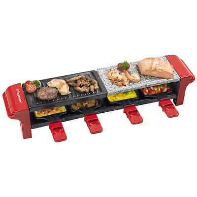 Bestron Raclette Grill Raclettegrill 4 Pfannen Partygrill 800 W Rot ARG400 #S