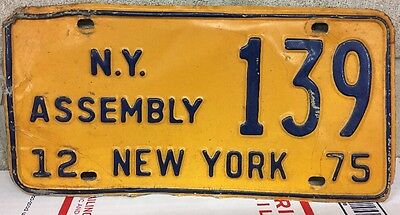 SINGLE USED 1980 NY ASSEMBLY LICENSE PLATE #139 Very Used CONDITION New York