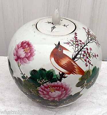 Antique Signed Fat Chinese Ching Dynasty Ginger Jar W/COA