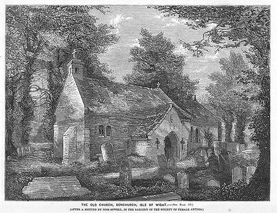 ISLE OF WIGHT The Old Church at Bonchurch - Antique Print 1859