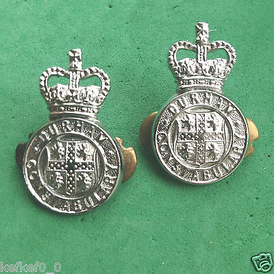 PAIR OF OBSOLETE DURHAM COUNTY CONSTABULARY COLLAR BADGES - police