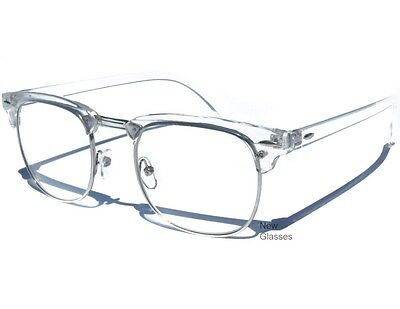 Transparent Top Clear Lens Glasses Retro Clubmaster Half Frame Vintage Style New