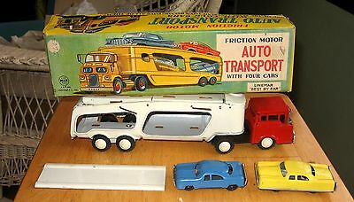 Linemar Marx Tin Friction Auto Transport Truck & 2 Cars Mib Almost Store Stock