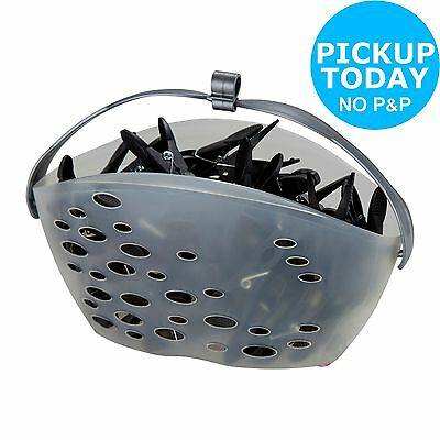 HOME Line Basket with 50 Clothes Pegs - Black -From the Argos Shop on ebay