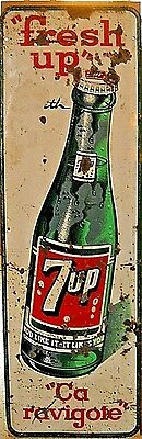 """Vintage Tall 53"""" Vertical 7Up Tin Sign With Large Bottle Graphic * """"fresh Up"""""""
