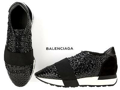 New Balenciaga Ladies Woven Patent Leather Ruffia Runners Sneakers Shoes 35
