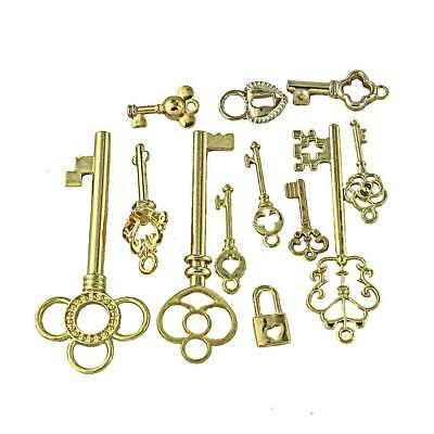 12pcs Antique Gold Keys Charms Pendants for JEWELRY MAKING DIY Findings