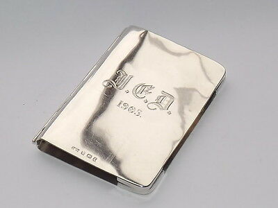 Antique Edwardian Solid Silver Sterling Card Case - Note Pad Holder B/ham 1905