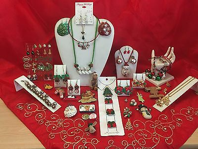 Massive CHRISTMAS JEWELRY Lot PINS BROOCHES Earrings Necklaces Bracelets 2