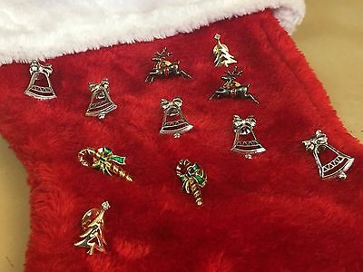 Avon Christmas Pins Jewelry Candy Canes Reindeer Trees Bells Lot