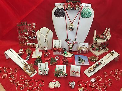 Massive CHRISTMAS JEWELRY Lot PINS BROOCHES Earrings Necklaces Bracelets 3
